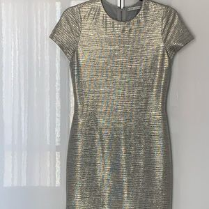 alice + olivia Silver Foil Dress